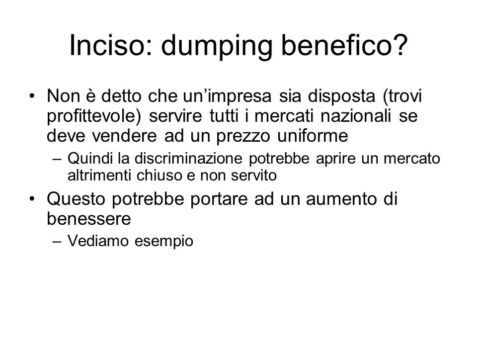 Inciso: dumping benefico? Non è detto che unimpresa sia disposta (trovi profittevole) servire tutti i mercati nazionali se deve vendere ad un prezzo u