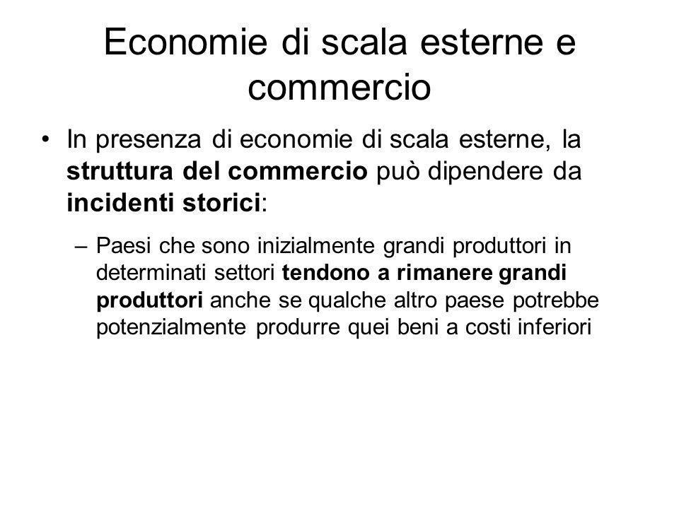 Economie di scala esterne e commercio In presenza di economie di scala esterne, la struttura del commercio può dipendere da incidenti storici: –Paesi