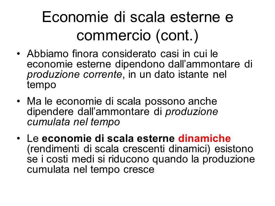 Abbiamo finora considerato casi in cui le economie esterne dipendono dallammontare di produzione corrente, in un dato istante nel tempo Ma le economie