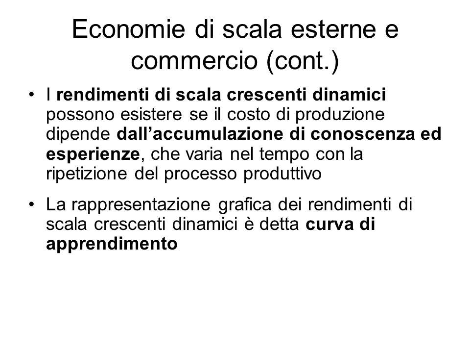 Economie di scala esterne e commercio (cont.) I rendimenti di scala crescenti dinamici possono esistere se il costo di produzione dipende dallaccumula