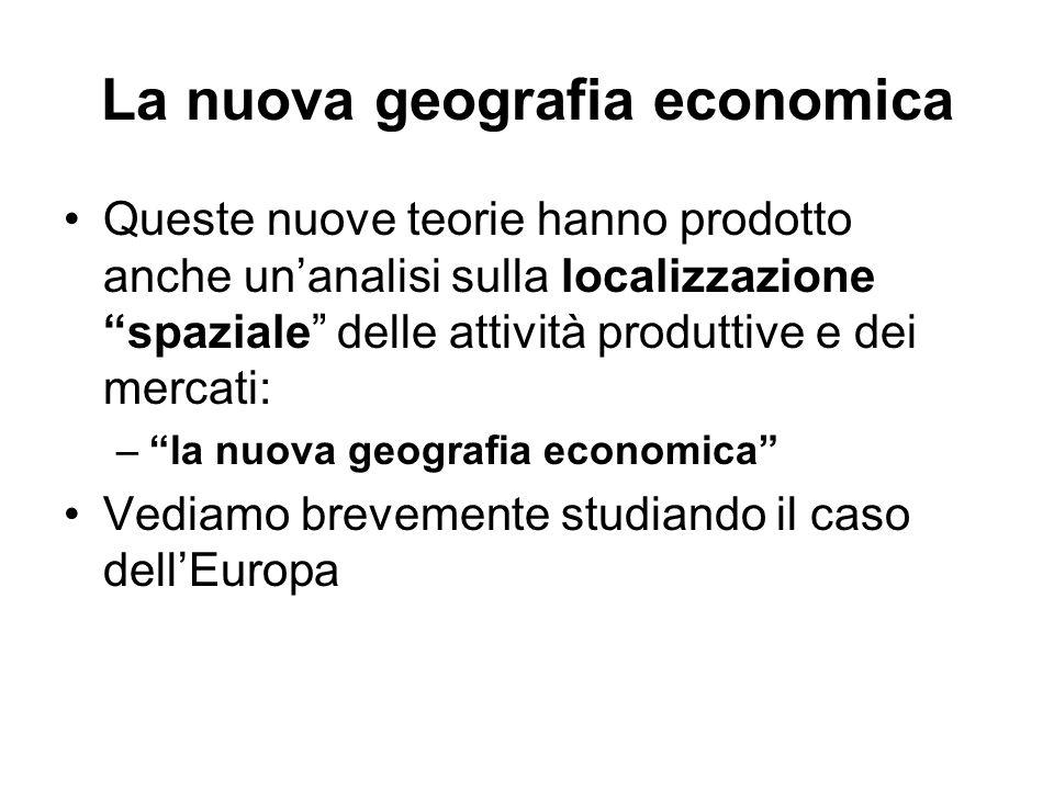 La nuova geografia economica Queste nuove teorie hanno prodotto anche unanalisi sulla localizzazione spaziale delle attività produttive e dei mercati:
