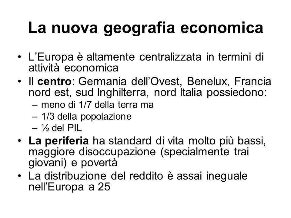 LEuropa è altamente centralizzata in termini di attività economica Il centro: Germania dellOvest, Benelux, Francia nord est, sud Inghilterra, nord Ita