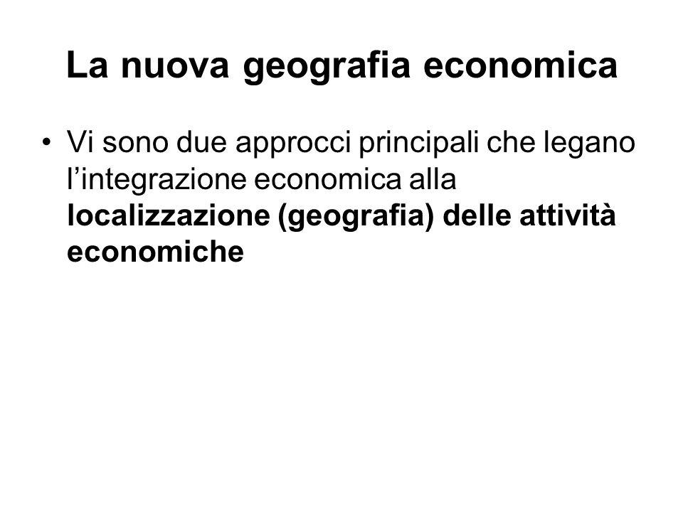 La nuova geografia economica Vi sono due approcci principali che legano lintegrazione economica alla localizzazione (geografia) delle attività economi