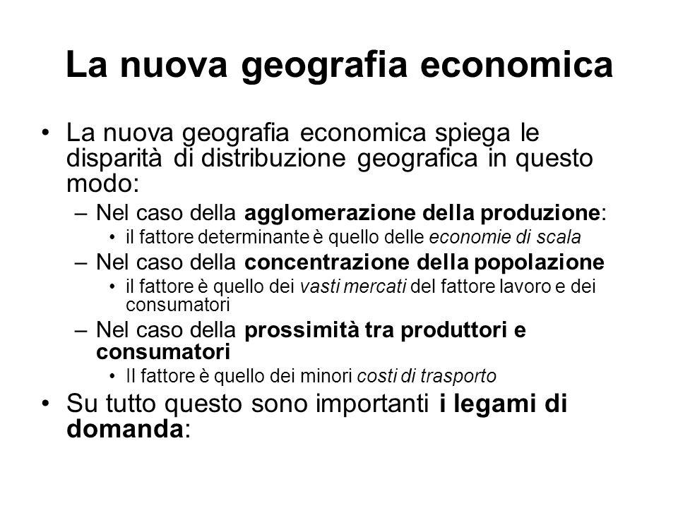 La nuova geografia economica La nuova geografia economica spiega le disparità di distribuzione geografica in questo modo: –Nel caso della agglomerazio