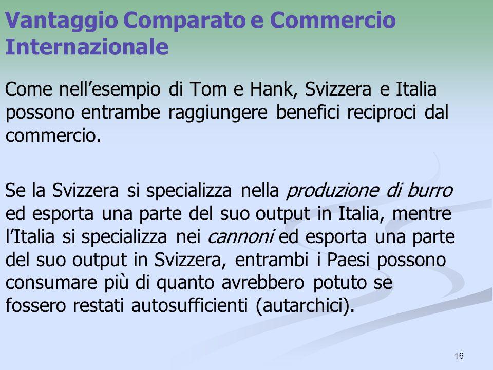 16 Vantaggio Comparato e Commercio Internazionale Come nellesempio di Tom e Hank, Svizzera e Italia possono entrambe raggiungere benefici reciproci dal commercio.