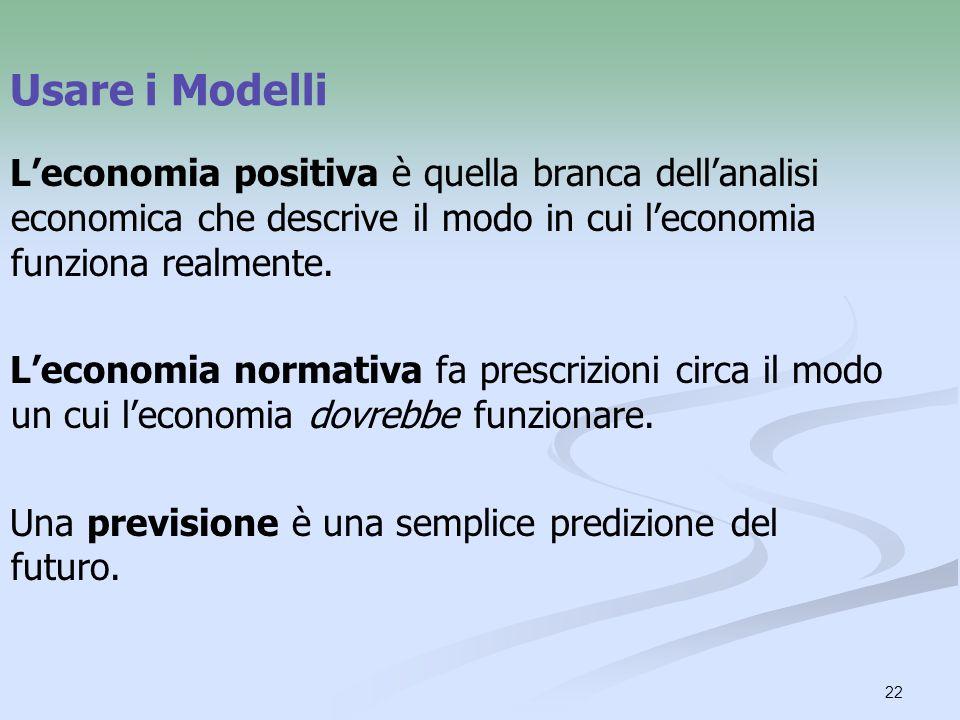22 Usare i Modelli Leconomia positiva è quella branca dellanalisi economica che descrive il modo in cui leconomia funziona realmente.