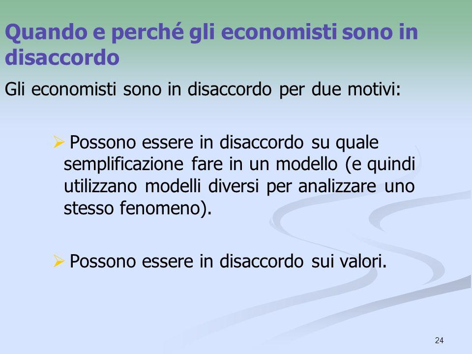 24 Quando e perché gli economisti sono in disaccordo Gli economisti sono in disaccordo per due motivi: Possono essere in disaccordo su quale semplificazione fare in un modello (e quindi utilizzano modelli diversi per analizzare uno stesso fenomeno).