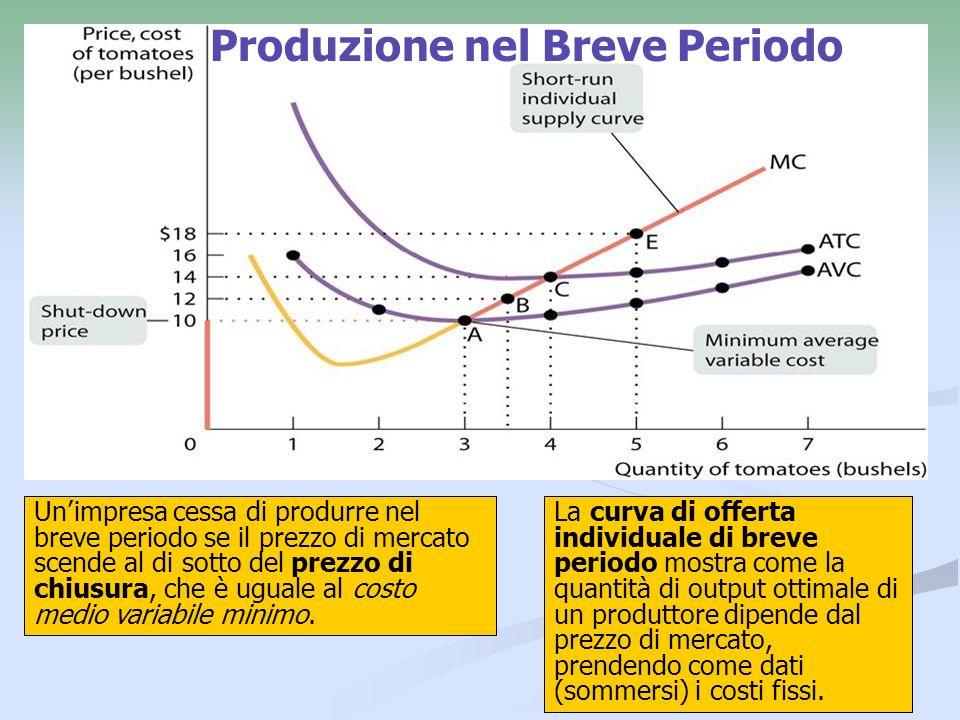 17 Produzione nel Breve Periodo Unimpresa cessa di produrre nel breve periodo se il prezzo di mercato scende al di sotto del prezzo di chiusura, che è