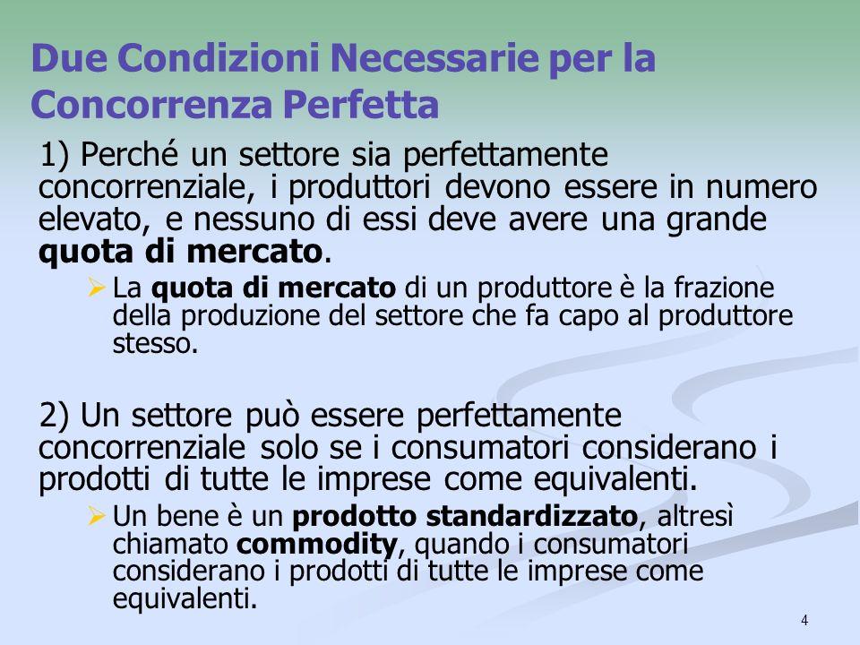 4 Due Condizioni Necessarie per la Concorrenza Perfetta 1) Perché un settore sia perfettamente concorrenziale, i produttori devono essere in numero el