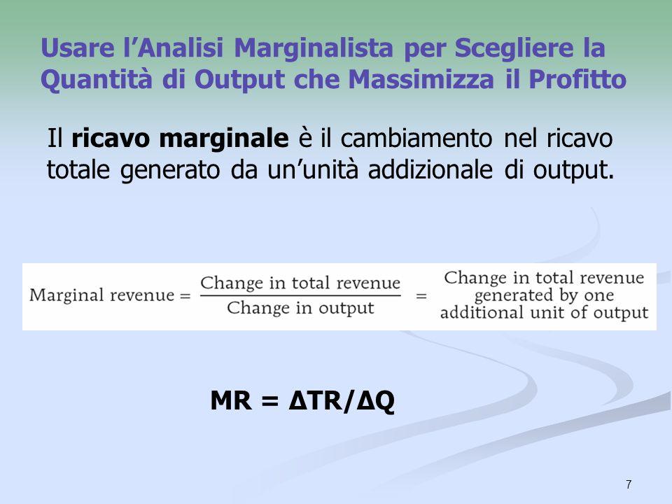 7 Usare lAnalisi Marginalista per Scegliere la Quantità di Output che Massimizza il Profitto Il ricavo marginale è il cambiamento nel ricavo totale ge