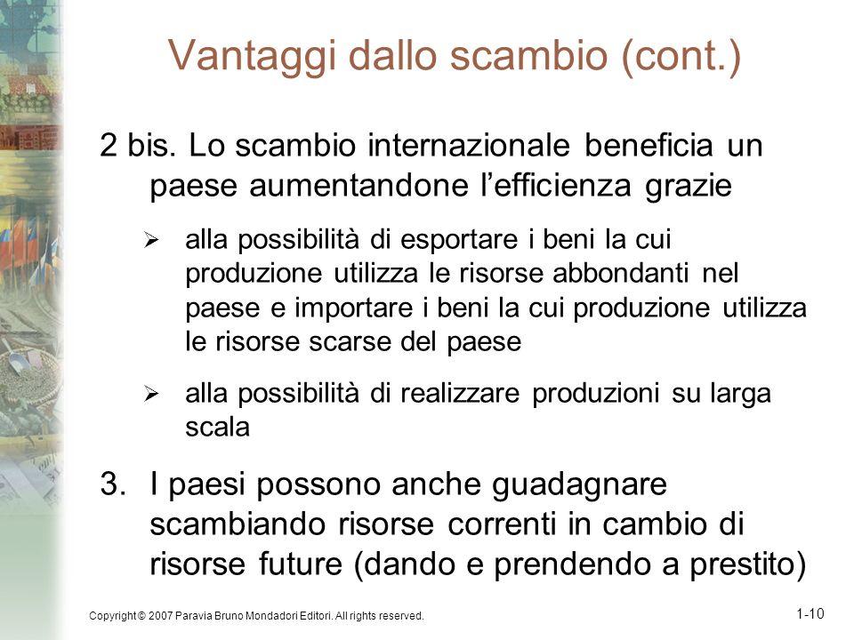Copyright © 2007 Paravia Bruno Mondadori Editori. All rights reserved. 1-10 Vantaggi dallo scambio (cont.) 2 bis. Lo scambio internazionale beneficia