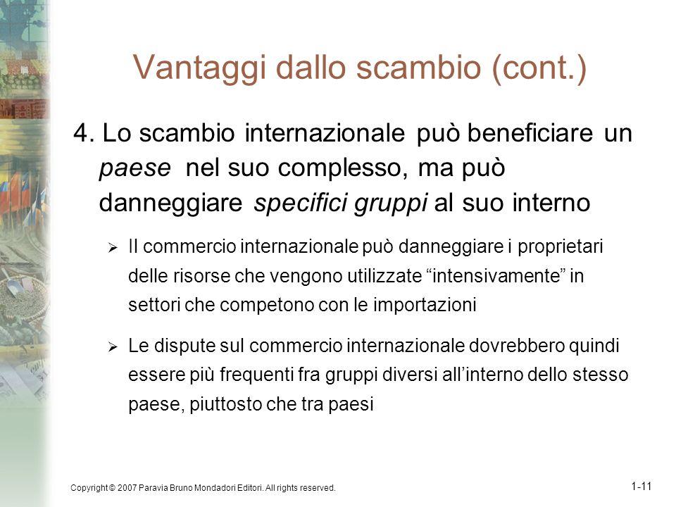 Copyright © 2007 Paravia Bruno Mondadori Editori. All rights reserved. 1-11 Vantaggi dallo scambio (cont.) 4. Lo scambio internazionale può beneficiar