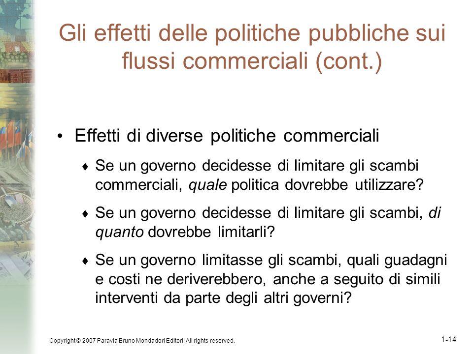 Copyright © 2007 Paravia Bruno Mondadori Editori. All rights reserved. 1-14 Gli effetti delle politiche pubbliche sui flussi commerciali (cont.) Effet