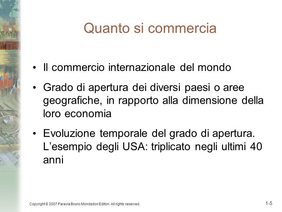 Copyright © 2007 Paravia Bruno Mondadori Editori. All rights reserved. 1-5 Il commercio internazionale del mondo Grado di apertura dei diversi paesi o