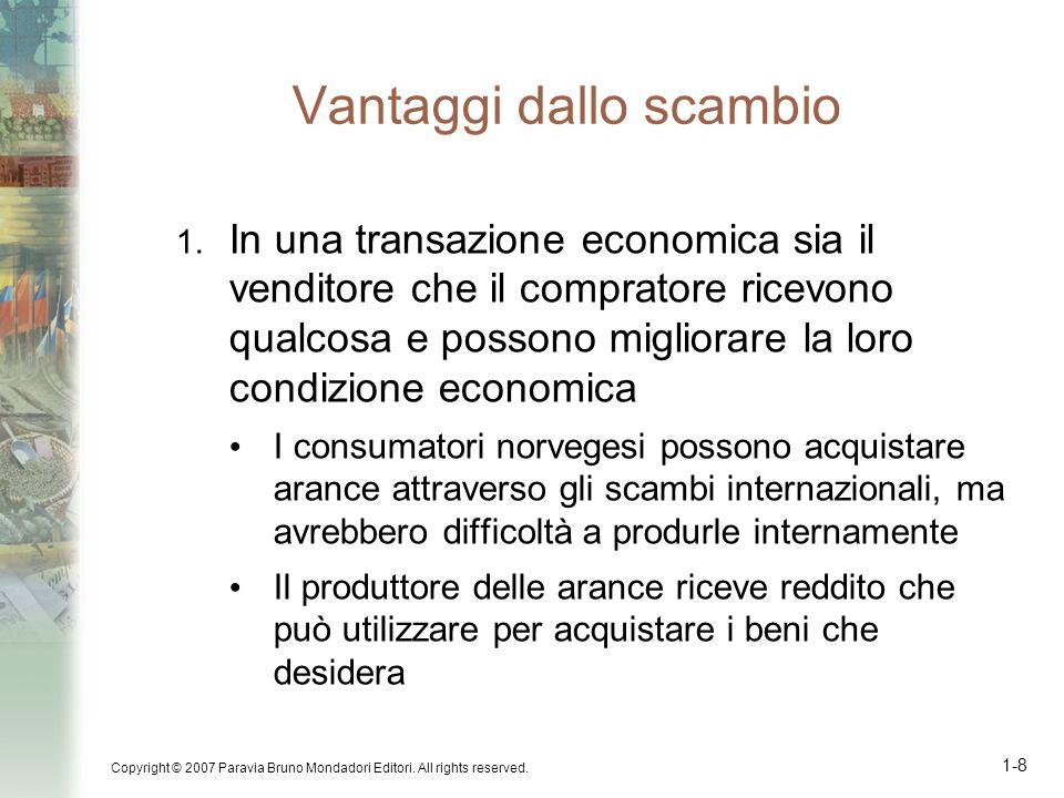 Copyright © 2007 Paravia Bruno Mondadori Editori. All rights reserved. 1-8 Vantaggi dallo scambio 1. In una transazione economica sia il venditore che
