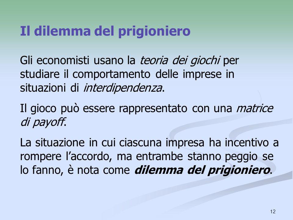 13 Dilemma del prigioniero Gioco basato su due presupposti: (1) Ogni giocatore ha un incentivo a scegliere lazione che lo avvantaggia a discapito dellaltro.