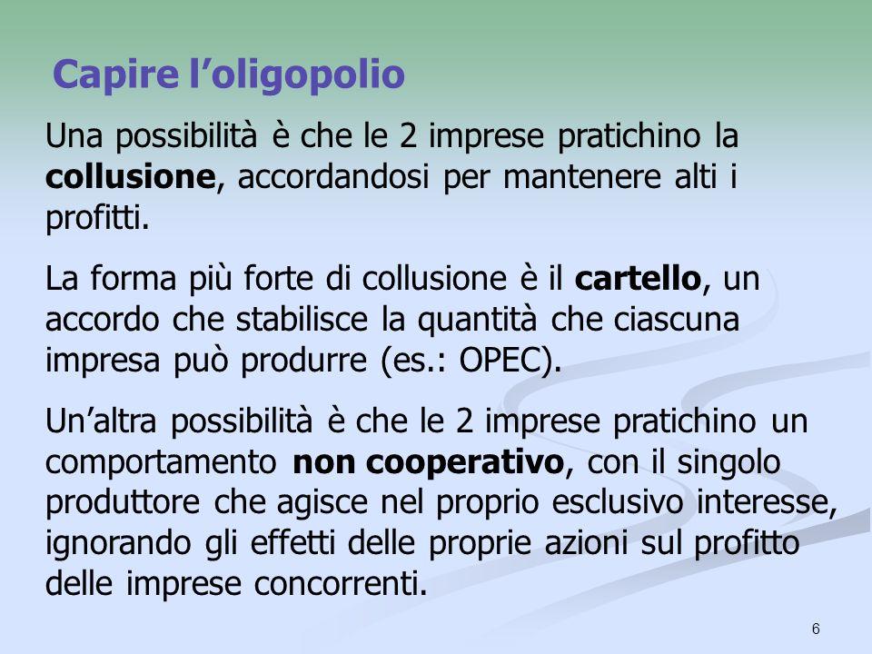 7 Capire loligopolio Agendo come se fossero un singolo monopolista, gli oligopolisti massimizzano il profitto congiunto.
