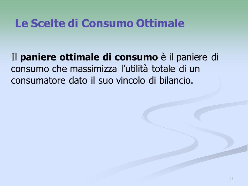 11 Le Scelte di Consumo Ottimale Il paniere ottimale di consumo è il paniere di consumo che massimizza lutilità totale di un consumatore dato il suo v