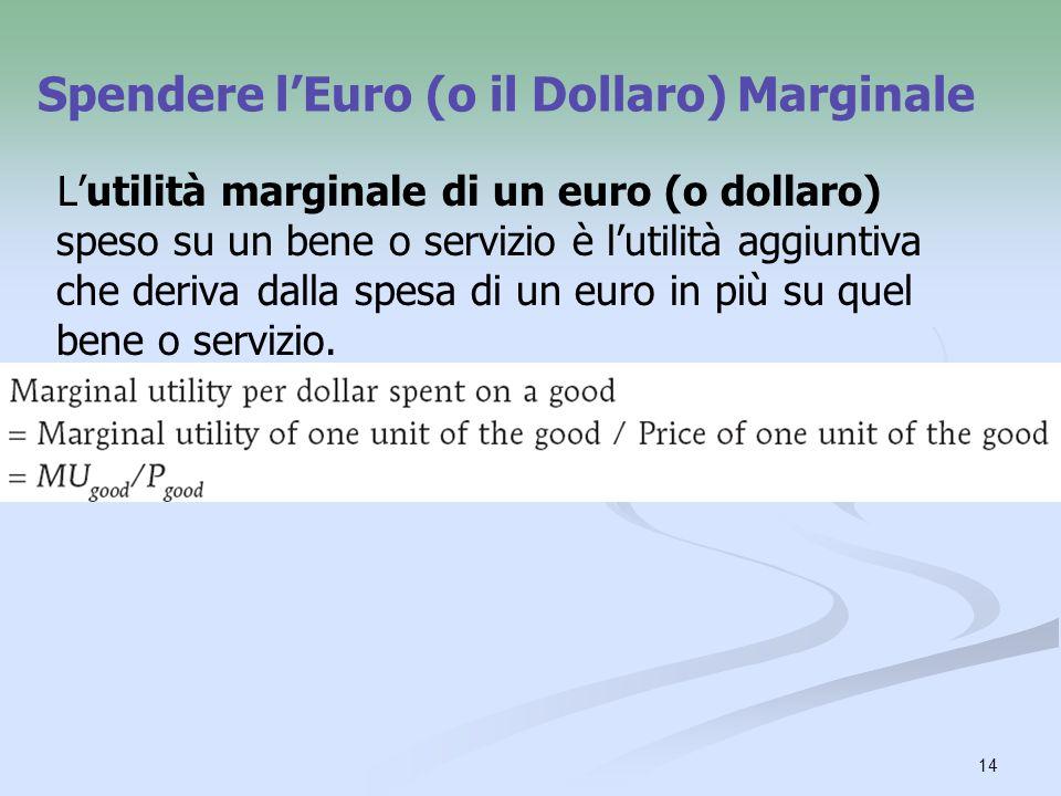 14 Spendere lEuro (o il Dollaro) Marginale Lutilità marginale di un euro (o dollaro) speso su un bene o servizio è lutilità aggiuntiva che deriva dall