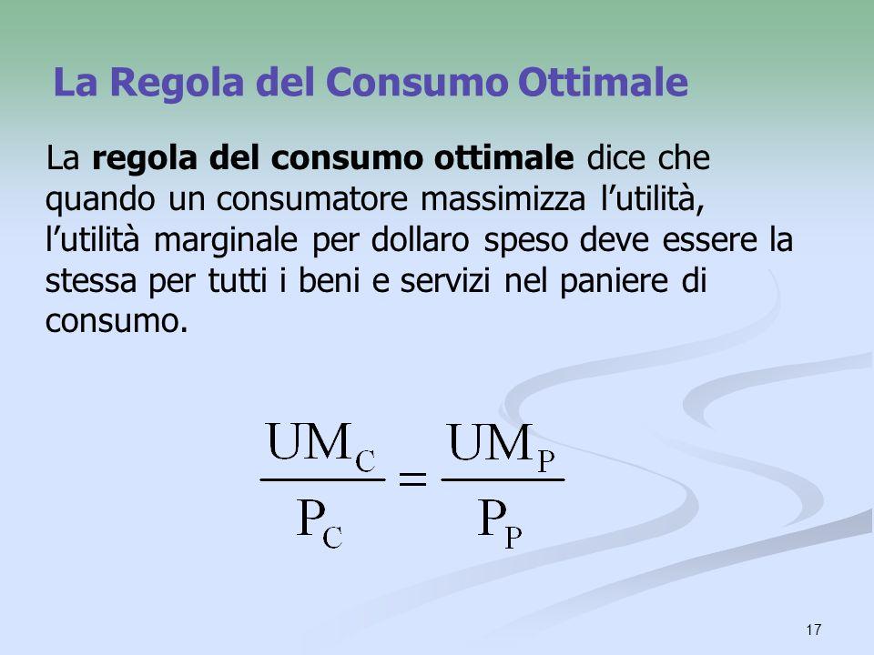 17 La Regola del Consumo Ottimale La regola del consumo ottimale dice che quando un consumatore massimizza lutilità, lutilità marginale per dollaro sp