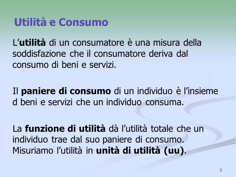3 Utilità e Consumo Lutilità di un consumatore è una misura della soddisfazione che il consumatore deriva dal consumo di beni e servizi. Il paniere di