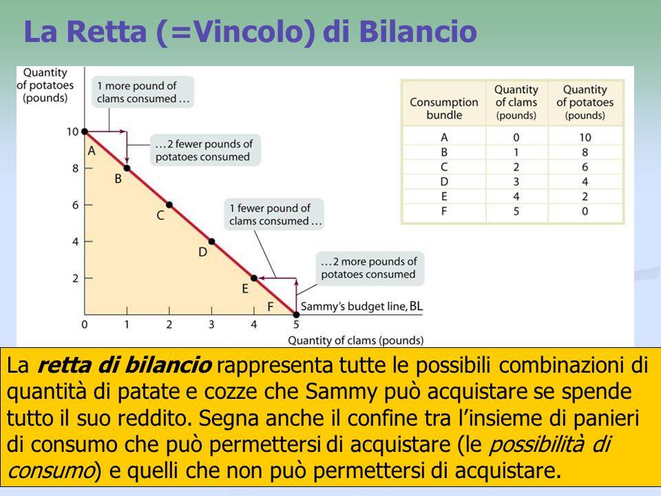 8 Equazione della retta di bilancio Lequazione della retta di bilancio si ricava direttamente dal vincolo di bilancio: Q C × P C + Q P ×P P = N Che si può scrivere anche come: