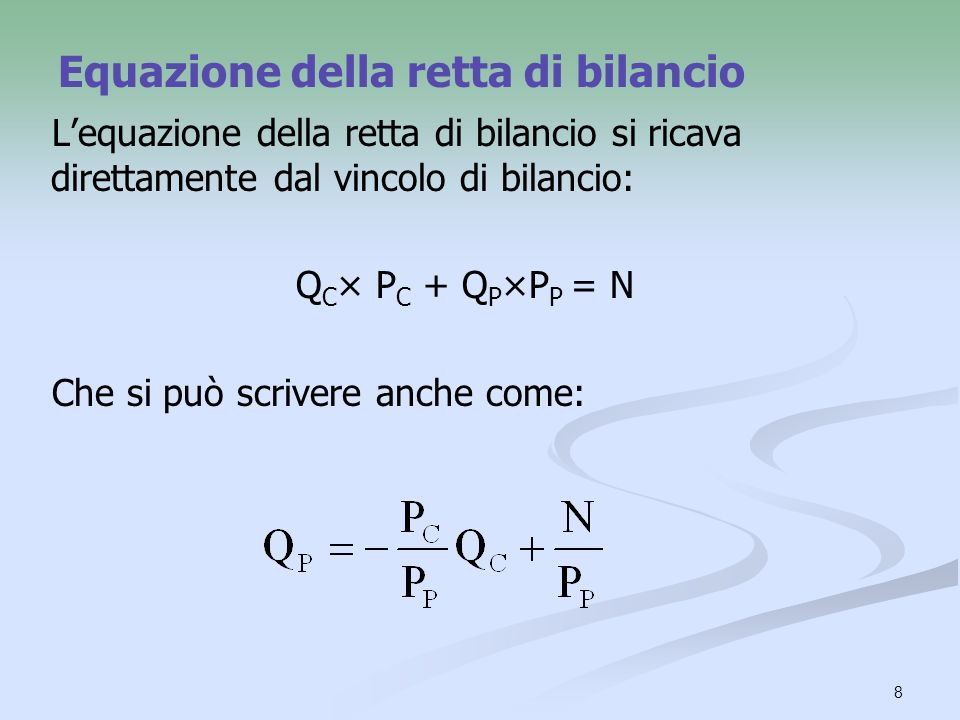 8 Equazione della retta di bilancio Lequazione della retta di bilancio si ricava direttamente dal vincolo di bilancio: Q C × P C + Q P ×P P = N Che si