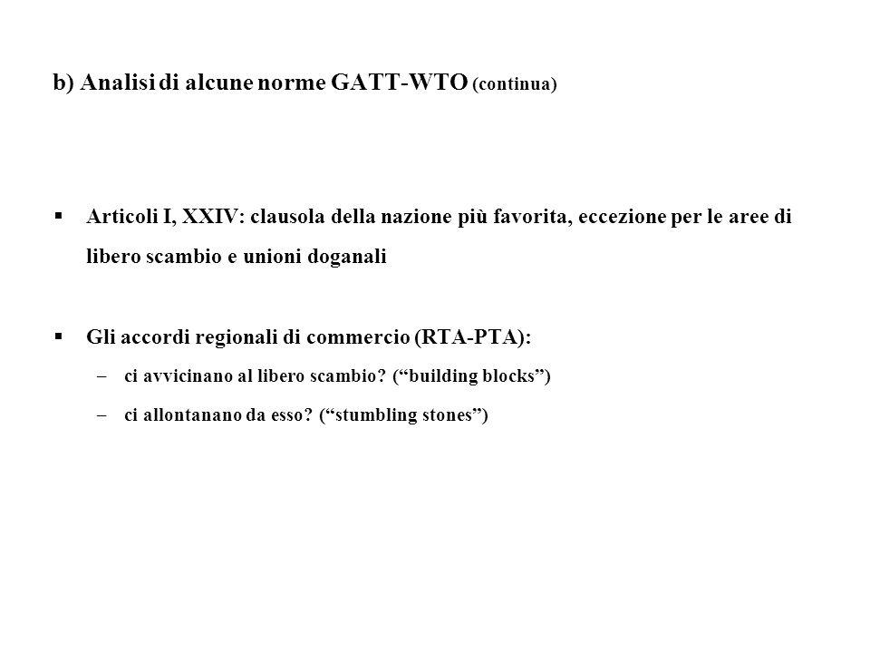 b) Analisi di alcune norme GATT-WTO (continua) Articoli I, XXIV: clausola della nazione più favorita, eccezione per le aree di libero scambio e unioni doganali Gli accordi regionali di commercio (RTA-PTA): –ci avvicinano al libero scambio.