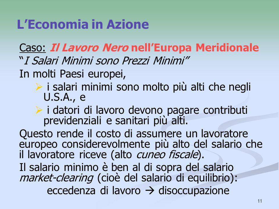 11 LEconomia in Azione Caso: Il Lavoro Nero nellEuropa Meridionale I Salari Minimi sono Prezzi Minimi In molti Paesi europei, i salari minimi sono mol