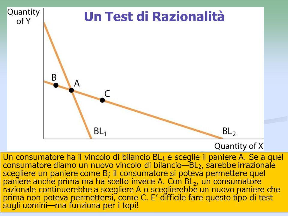 21 Un Test di Razionalità Un consumatore ha il vincolo di bilancio BL 1 e sceglie il paniere A. Se a quel consumatore diamo un nuovo vincolo di bilanc