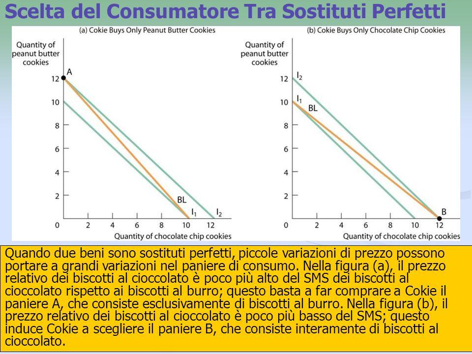 25 Quando due beni sono sostituti perfetti, piccole variazioni di prezzo possono portare a grandi variazioni nel paniere di consumo. Nella figura (a),
