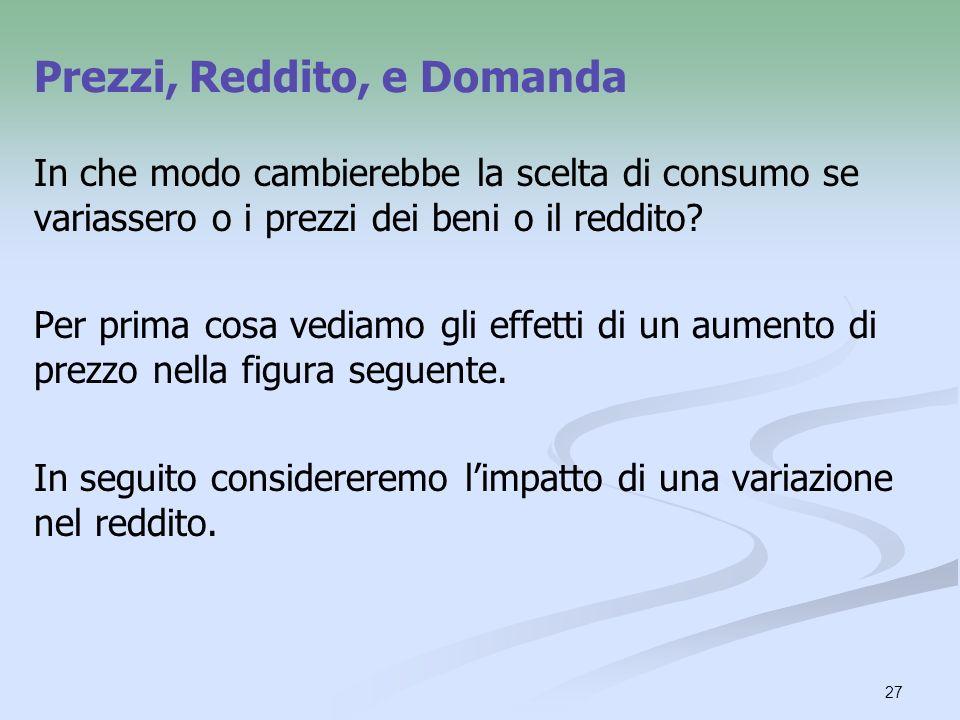 27 In che modo cambierebbe la scelta di consumo se variassero o i prezzi dei beni o il reddito? Per prima cosa vediamo gli effetti di un aumento di pr