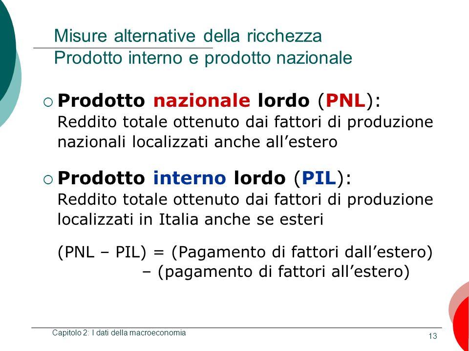 13 Misure alternative della ricchezza Prodotto interno e prodotto nazionale Prodotto nazionale lordo (PNL): Reddito totale ottenuto dai fattori di pro