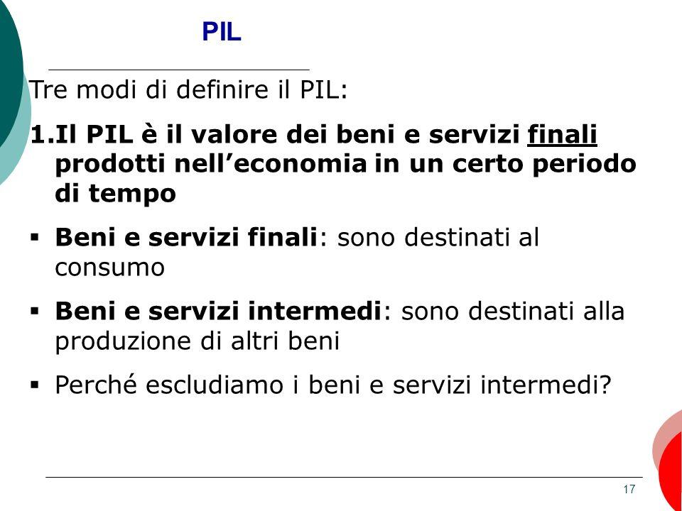 17 PIL Tre modi di definire il PIL: 1.Il PIL è il valore dei beni e servizi finali prodotti nelleconomia in un certo periodo di tempo Beni e servizi f