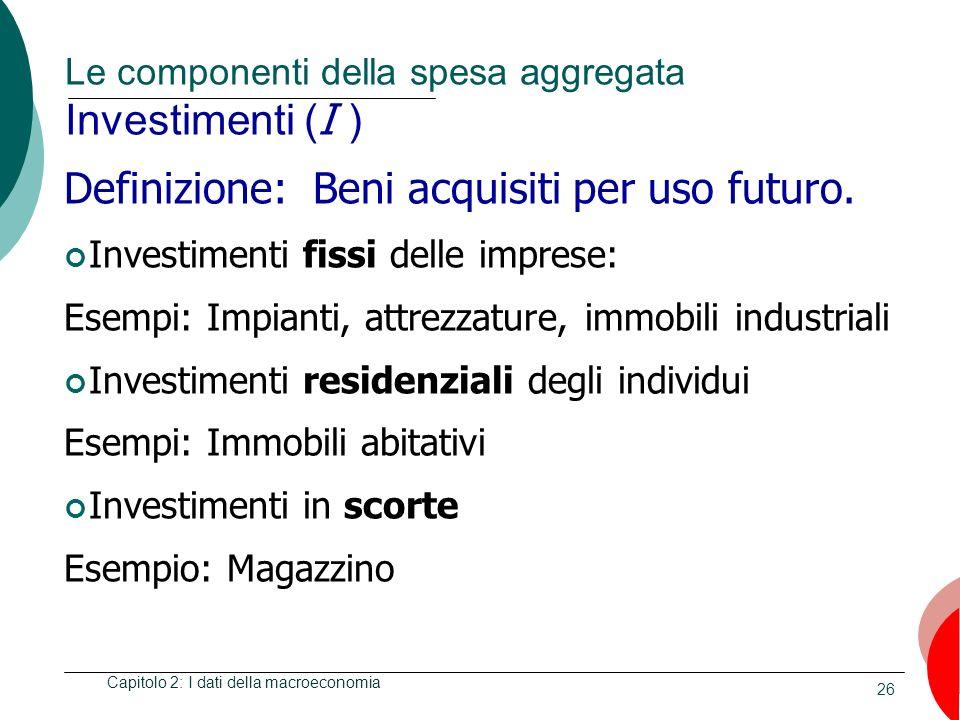 26 Le componenti della spesa aggregata Investimenti ( I ) Capitolo 2: I dati della macroeconomia Definizione: Beni acquisiti per uso futuro. Investime