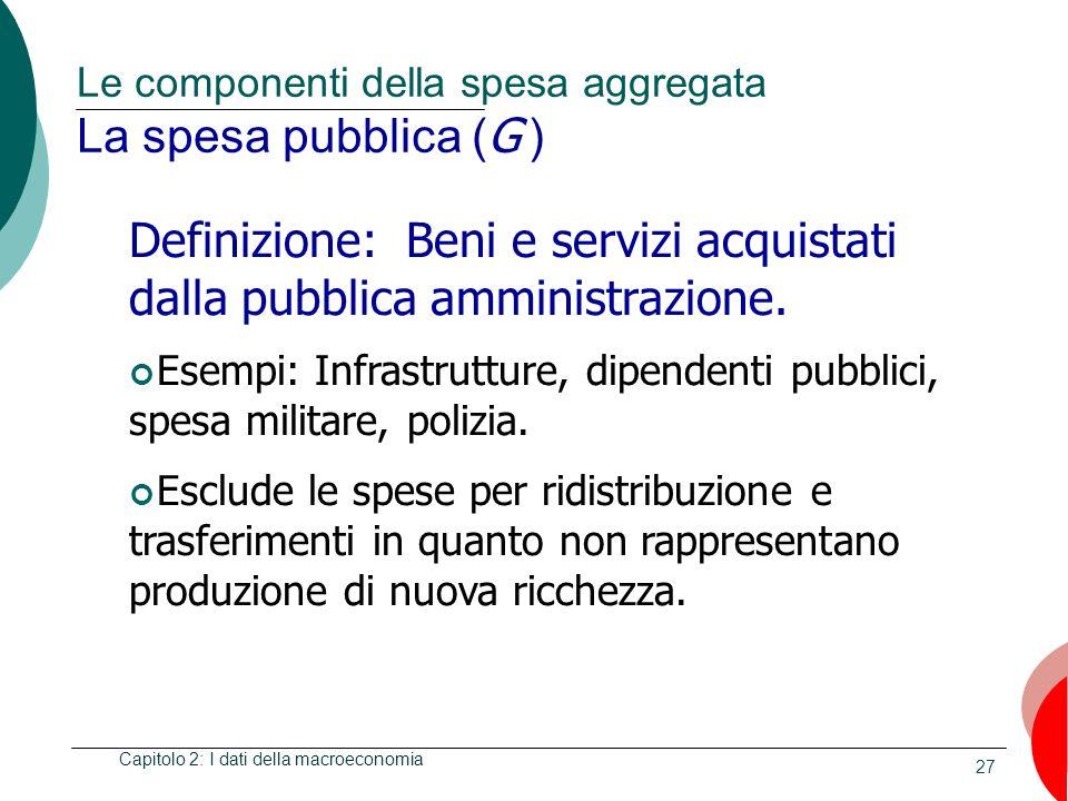 27 Le componenti della spesa aggregata La spesa pubblica ( G ) Capitolo 2: I dati della macroeconomia Definizione: Beni e servizi acquistati dalla pub