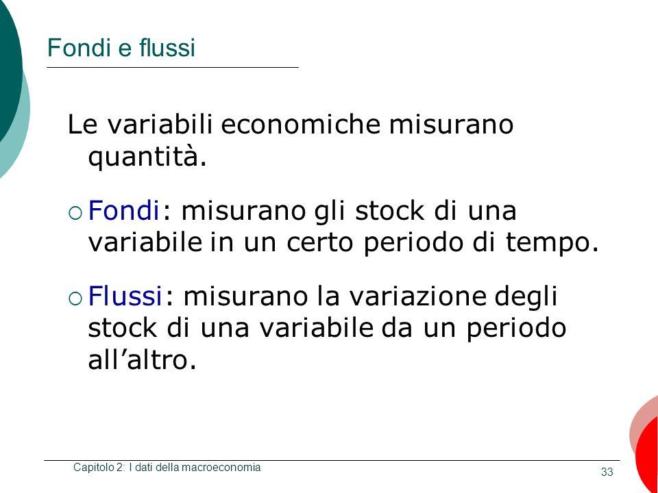 33 Fondi e flussi Le variabili economiche misurano quantità. Fondi: misurano gli stock di una variabile in un certo periodo di tempo. Flussi: misurano