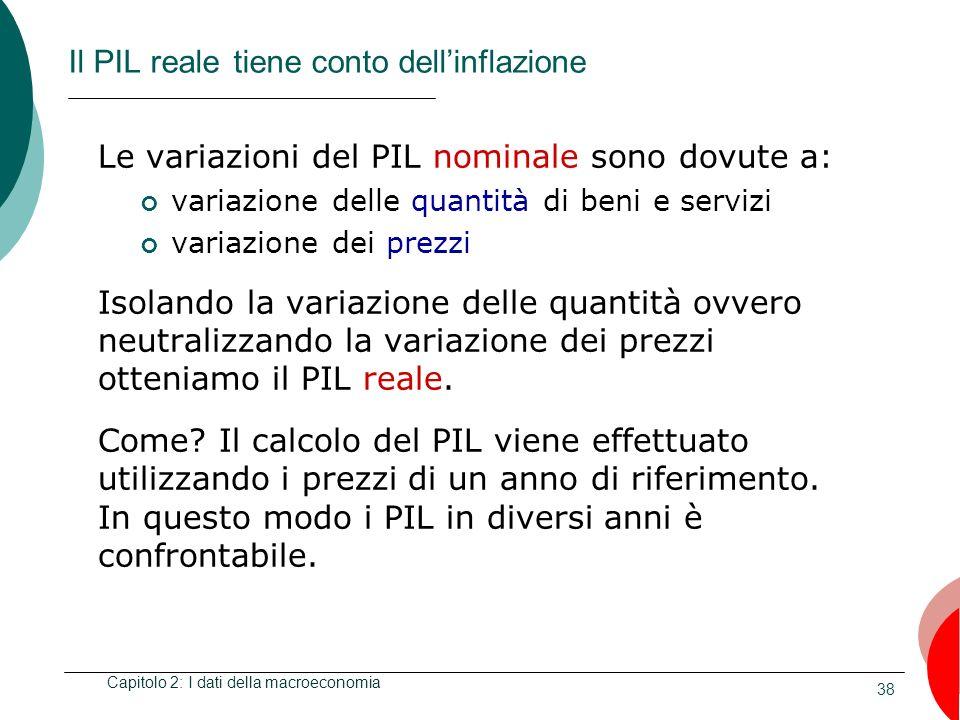38 Il PIL reale tiene conto dellinflazione Le variazioni del PIL nominale sono dovute a: variazione delle quantità di beni e servizi variazione dei pr