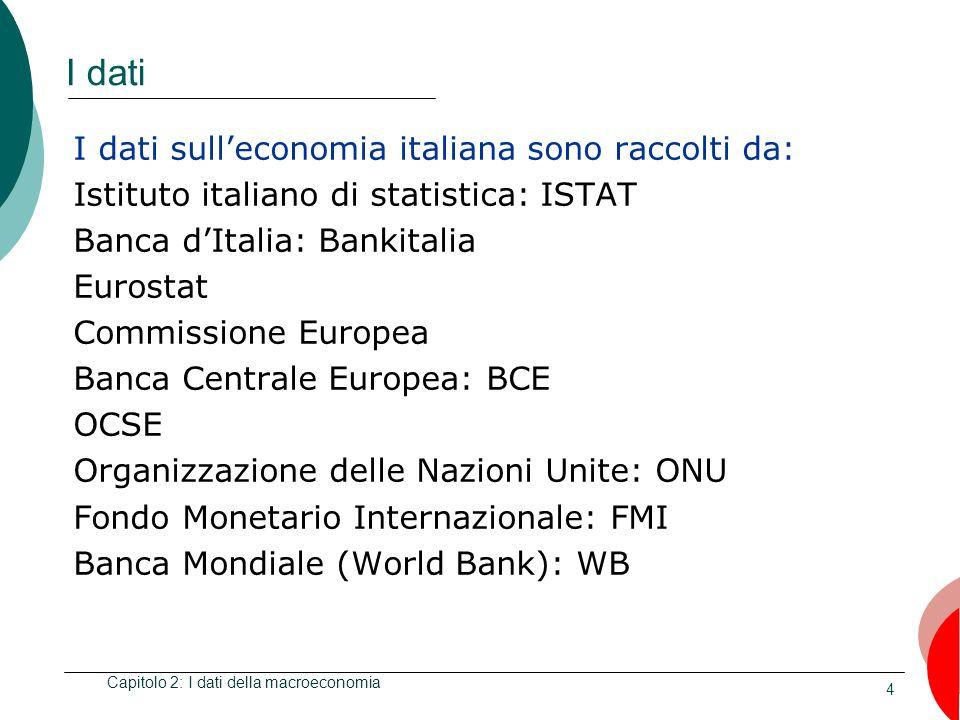 4 I dati I dati sulleconomia italiana sono raccolti da: Istituto italiano di statistica: ISTAT Banca dItalia: Bankitalia Eurostat Commissione Europea