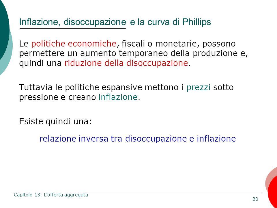 20 Capitolo 13: Lofferta aggregata Inflazione, disoccupazione e la curva di Phillips Le politiche economiche, fiscali o monetarie, possono permettere
