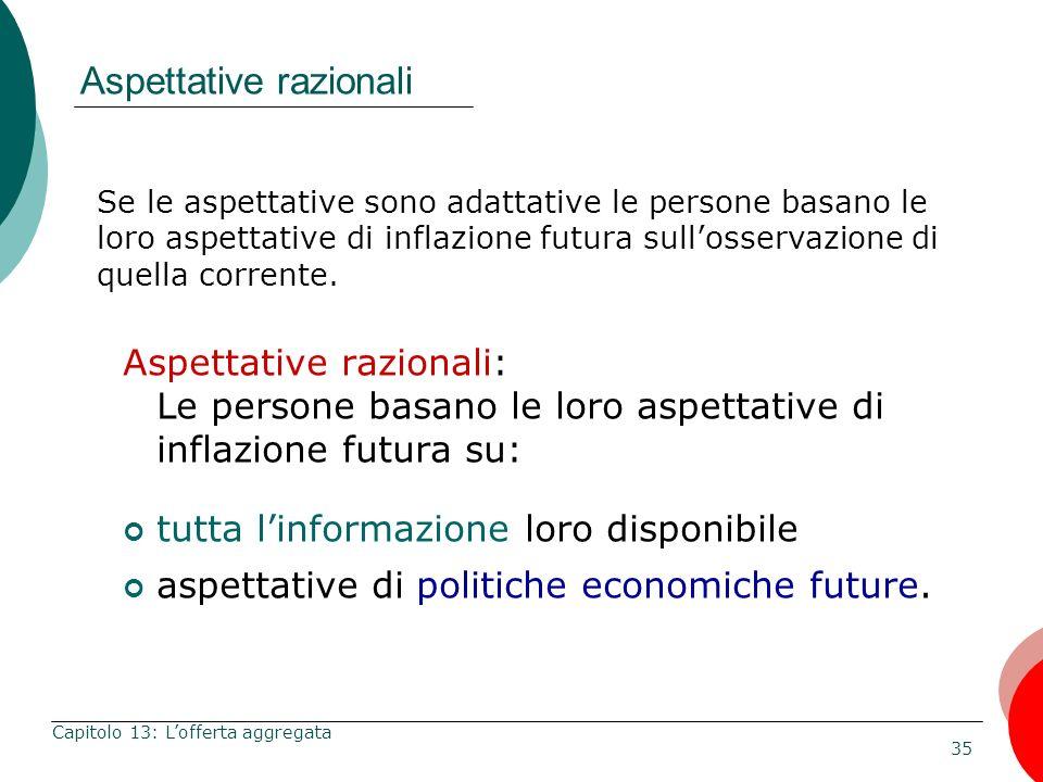 35 Capitolo 13: Lofferta aggregata Se le aspettative sono adattative le persone basano le loro aspettative di inflazione futura sullosservazione di qu