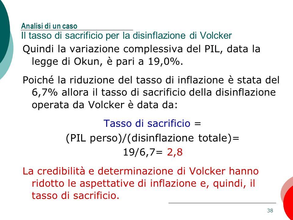 38 Capitolo 13: Lofferta aggregata Analisi di un caso Il tasso di sacrificio per la disinflazione di Volcker Quindi la variazione complessiva del PIL,