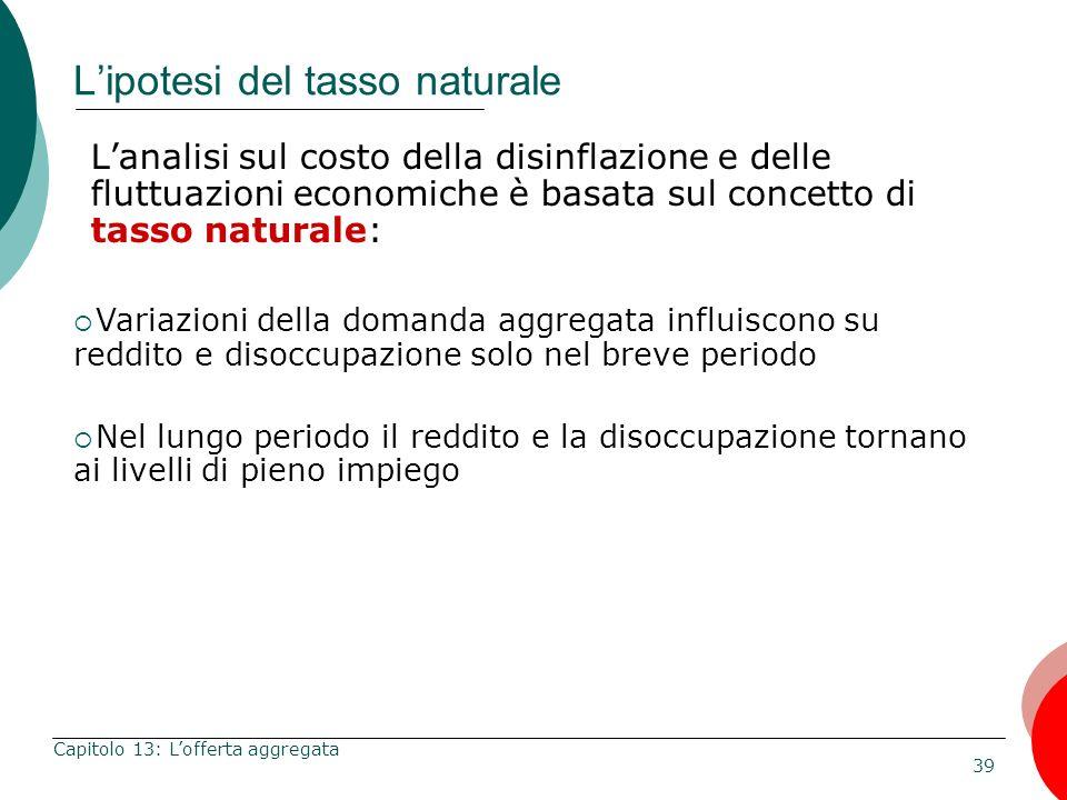 39 Capitolo 13: Lofferta aggregata Lipotesi del tasso naturale Lanalisi sul costo della disinflazione e delle fluttuazioni economiche è basata sul con