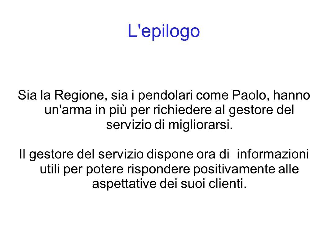 L epilogo Sia la Regione, sia i pendolari come Paolo, hanno un arma in più per richiedere al gestore del servizio di migliorarsi.
