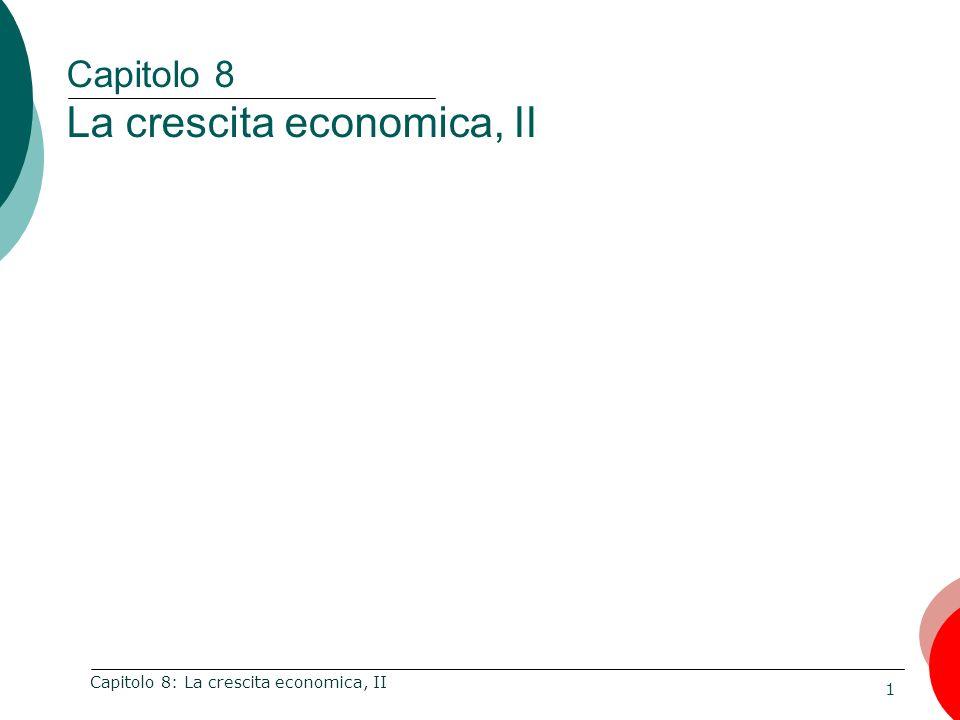 32 Capitolo 8: La crescita economica, II Il modello di Solow predice che, a parità di condizioni, i paesi poveri (con Y/L e K/L inferiori) dovrebbero crescere più velocemente di quelli ricchi in quanto caratterizzati da una PMK superiore.
