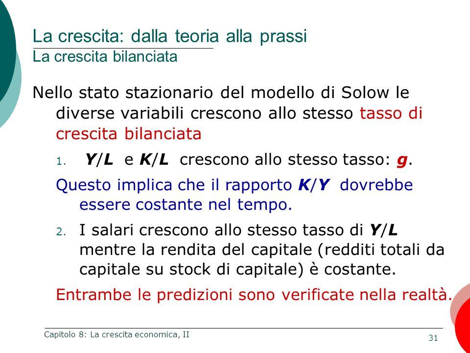 31 Capitolo 8: La crescita economica, II Nello stato stazionario del modello di Solow le diverse variabili crescono allo stesso tasso di crescita bila