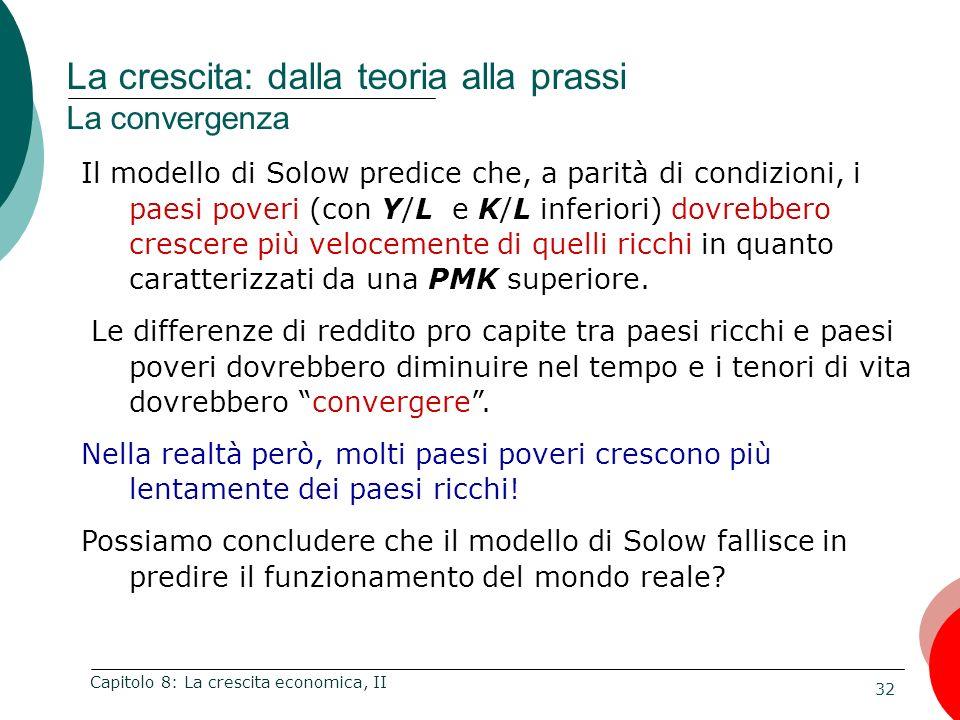 32 Capitolo 8: La crescita economica, II Il modello di Solow predice che, a parità di condizioni, i paesi poveri (con Y/L e K/L inferiori) dovrebbero