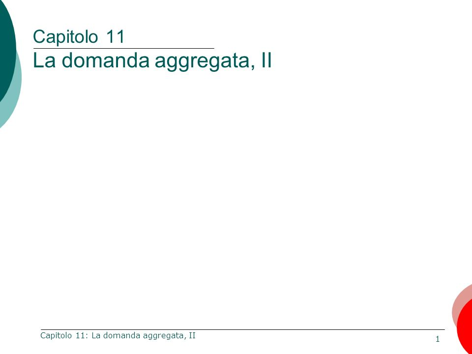 1 Capitolo 11: La domanda aggregata, II Capitolo 11 La domanda aggregata, II