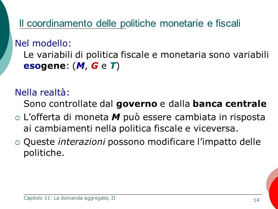 14 Capitolo 11: La domanda aggregata, II Il coordinamento delle politiche monetarie e fiscali Nel modello: Le variabili di politica fiscale e monetari