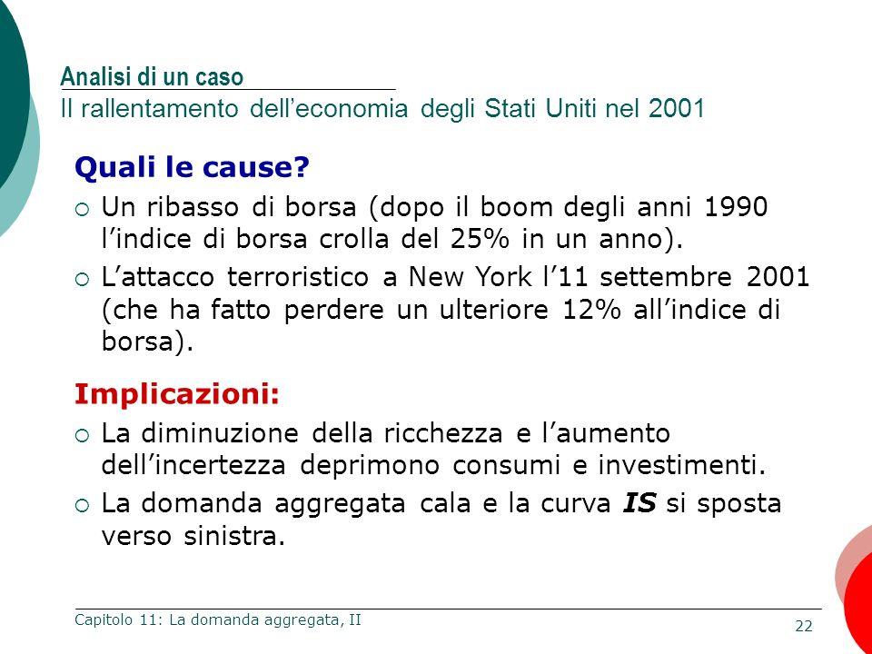 22 Capitolo 11: La domanda aggregata, II Analisi di un caso Il rallentamento delleconomia degli Stati Uniti nel 2001 Quali le cause? Un ribasso di bor
